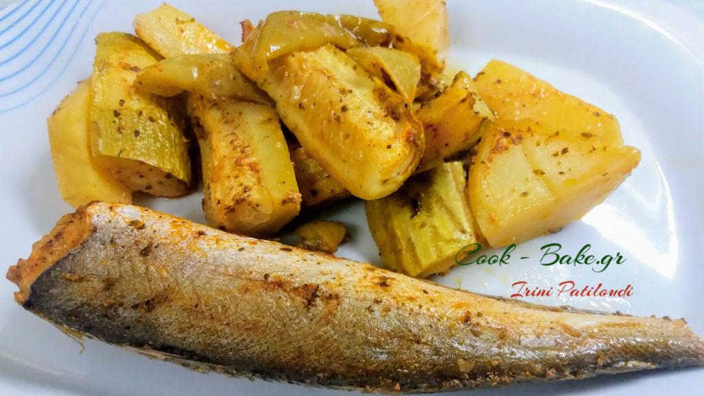 Μπακαλιαράκια με πατάτες και κολοκυθάκια στον φούρνο