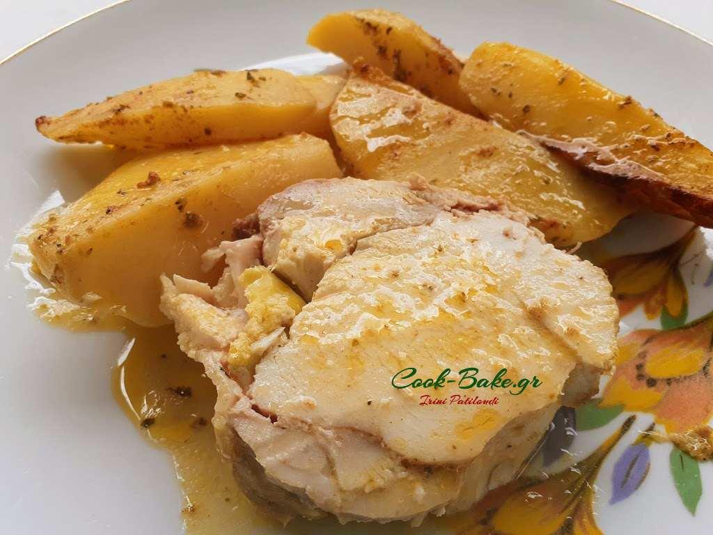Ρολό Κοτόπουλο με πατάτες στην γάστρα
